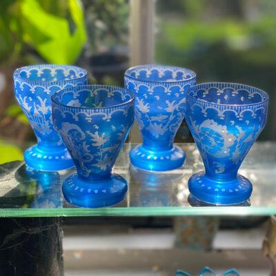 Bohemian Blue Liquour Glasses