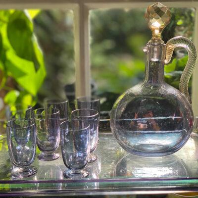 Hand Blown Glass Liquour Set