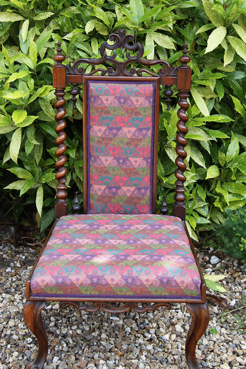 Barley Twist Rosewood Chair with Red Silk Upholstery