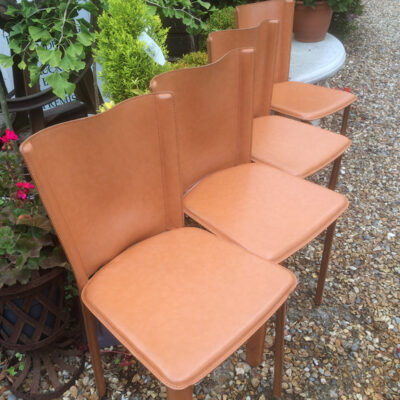 Set of 4 Italian Hide Dining Chairs by Frag