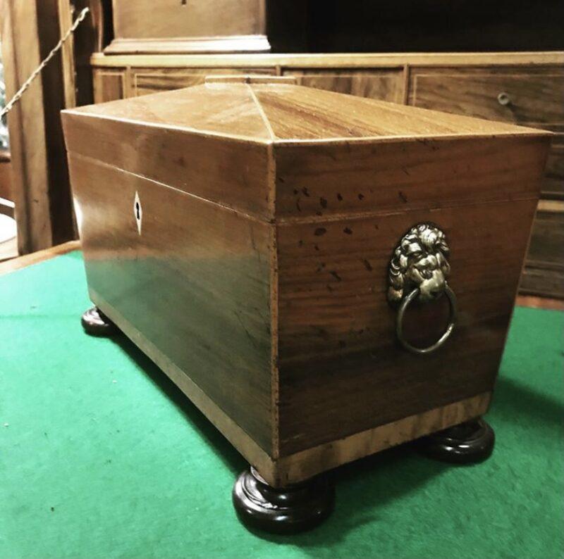 George III Rosewood Sarcophagus Shaped Tea Caddy