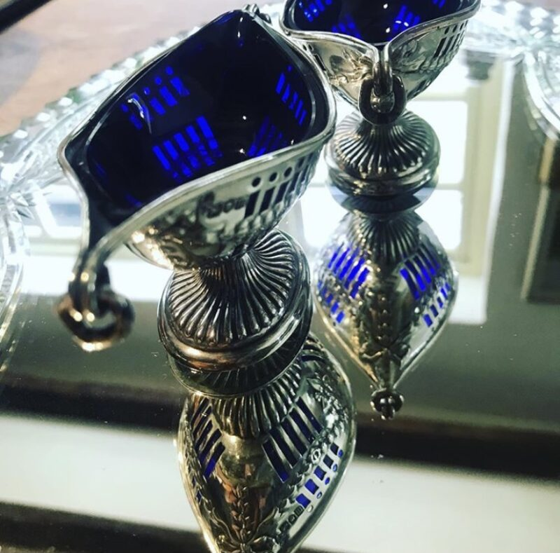 Pair of Pierced Silver Salts with Blue Liners