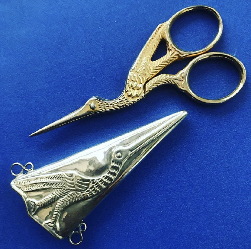 Continental Silver Cased Gilt Stork Sewing Scissors