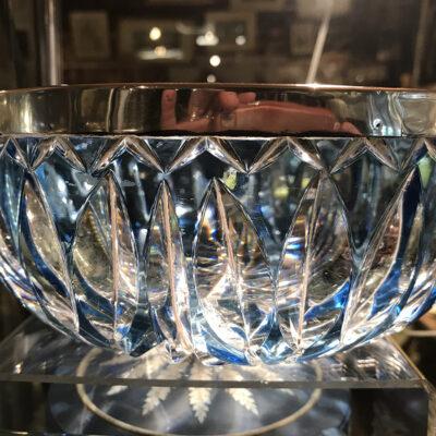 Flash Cut Crystal Bowl with Solid Silver Trim