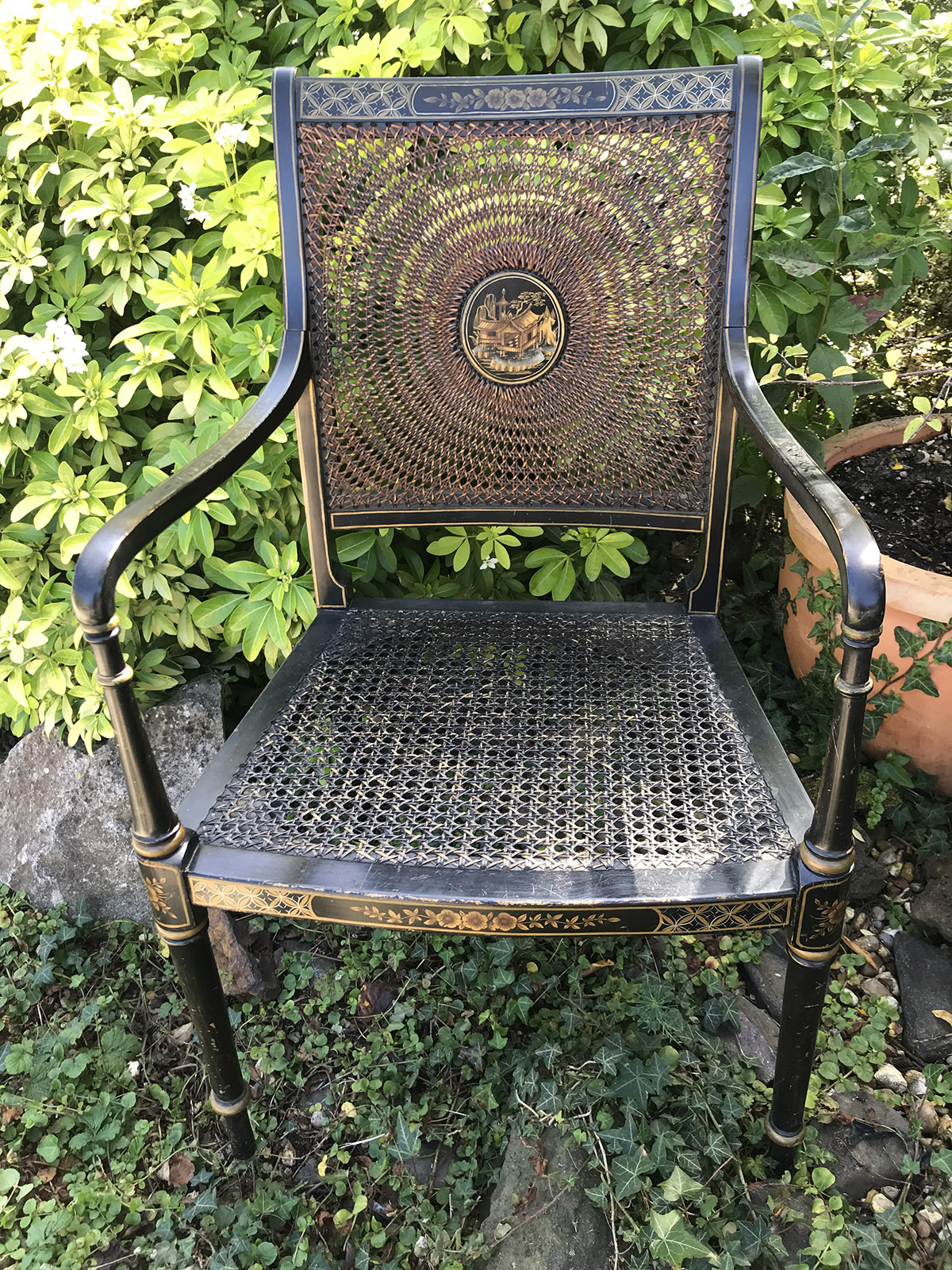 Lacquer Chinoiserie Elbow Chair