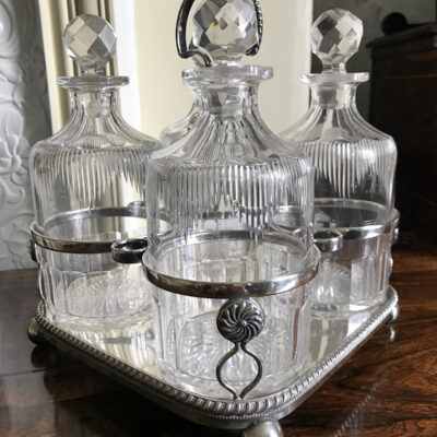 19c Silver Plate Decanter Stand with Four Cut Crystal Decanters