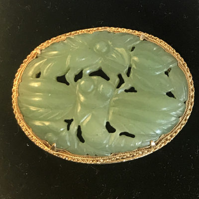 Chinese Carved Jade Brooch set in Silver Gilt