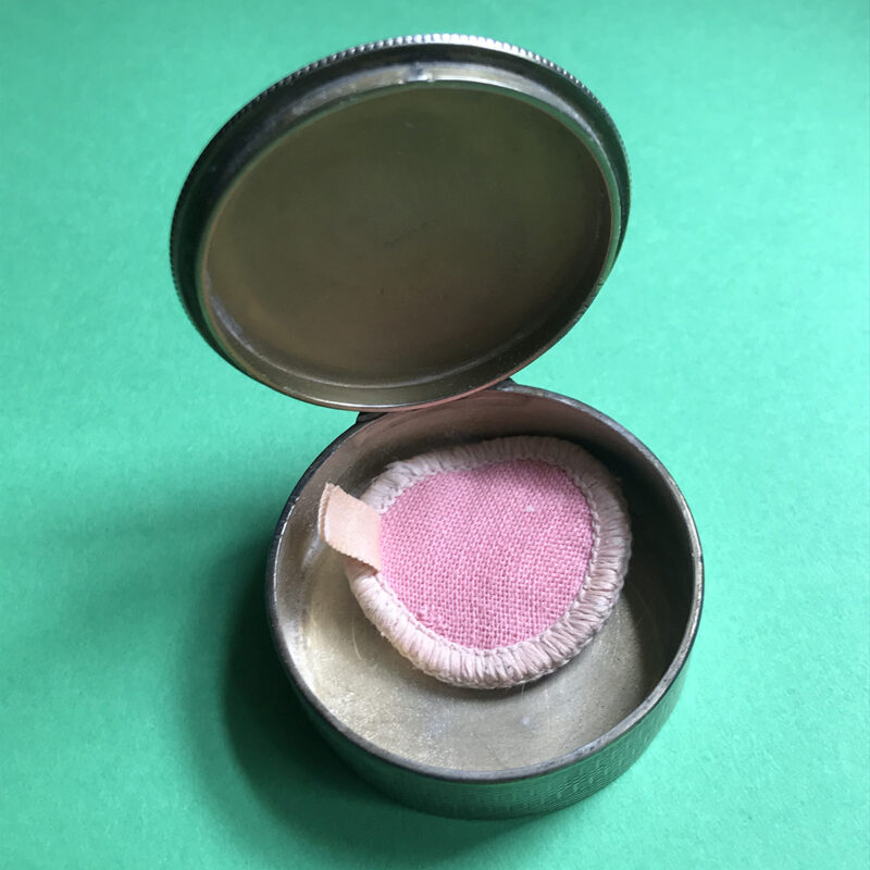 Inlaid Silver Mini Compact with Guilloche Enamel Lid