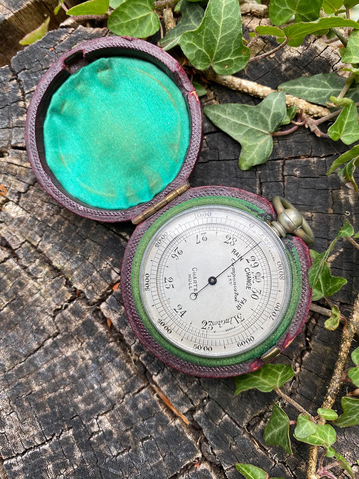 Aluminium Cased 19c Pocket Barometer Altimeter.