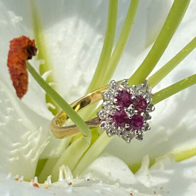 18ct Gold Ring with Diamonds and Rubies