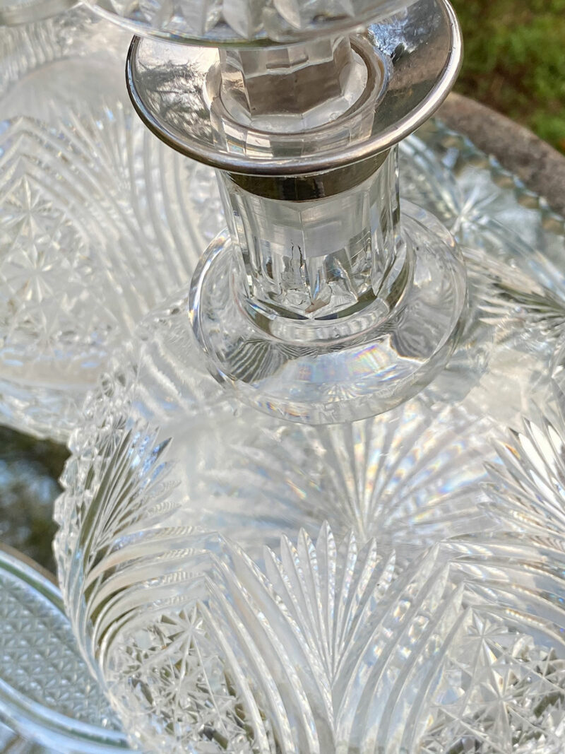 Pair of Cut Crystal Ship's Decanters with Silver Collars