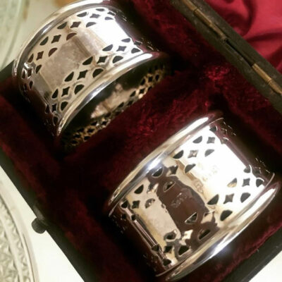 Boxed Pair of Pierced Solid Silver Napkin Rings
