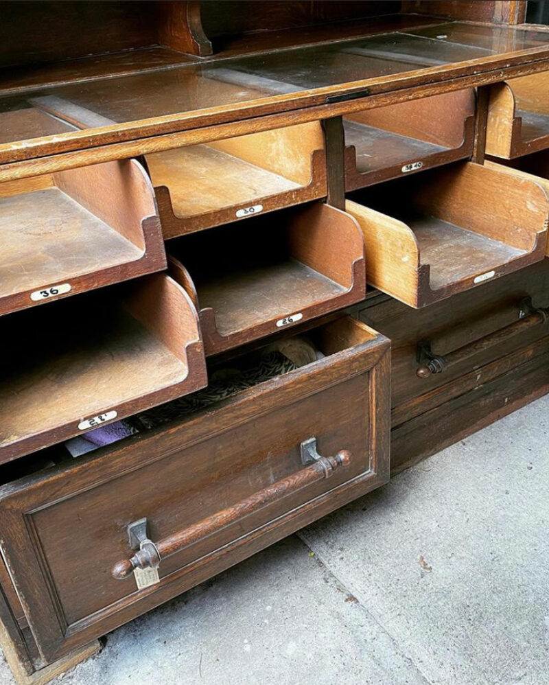 Early 20th Century Oak Shop Display Cabinet for Hats
