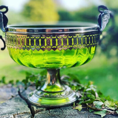 Green Glass Bowl on Stand - Silver Plate Trim