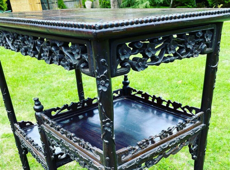 9c Carved Rosewood Three Tier Buffet