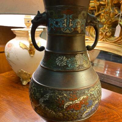 Large Chinese Champleve Bronze Vase