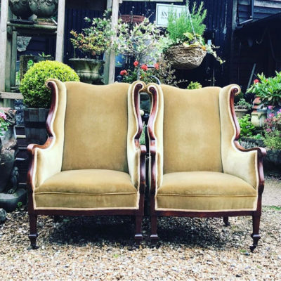 Pair of Edwardian Mahogany Framed Wing Back Chairs