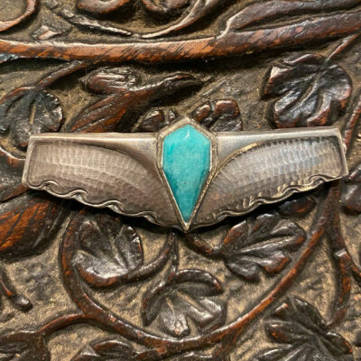 Arts & Crafts Silver & Turquoise Brooch