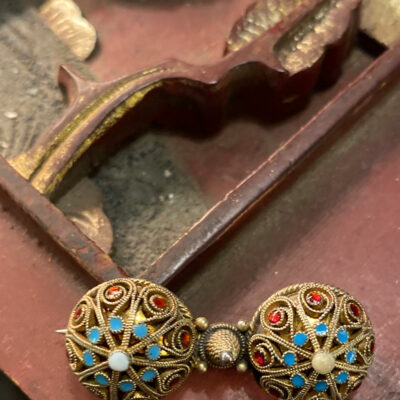 Silver Gilt & Turquoise Brooch