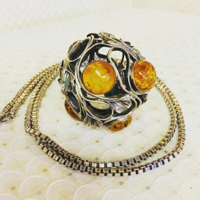 Silver Chain with Baltic Amber & Silver 'Orb' Pendant