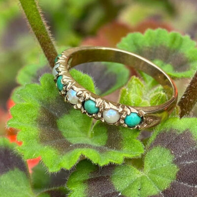 9ct Gold,Turquoise & Pearl Ring