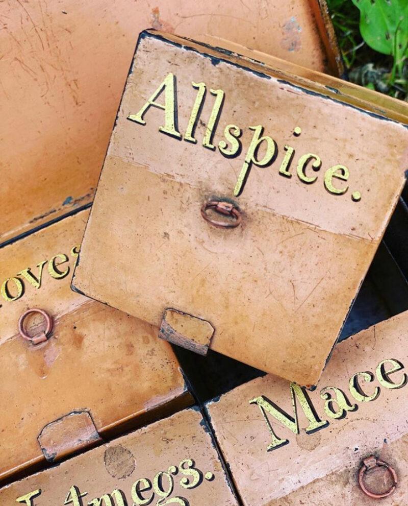Rare Toleware Spice Box with Original Nutmeg Grater