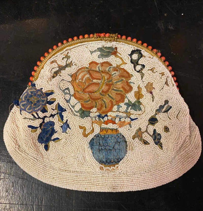 19c Chinese Beaded Clutch Bag