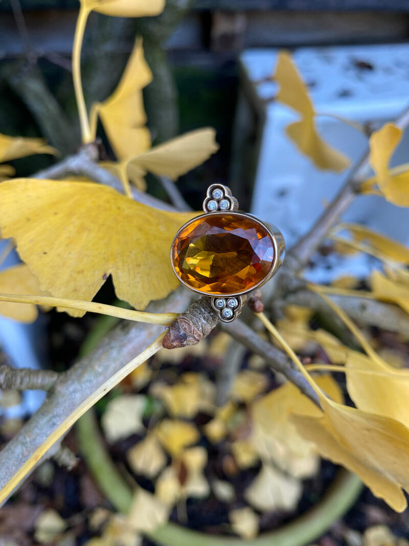 9ct Gold, Diamond & Citrine Ring