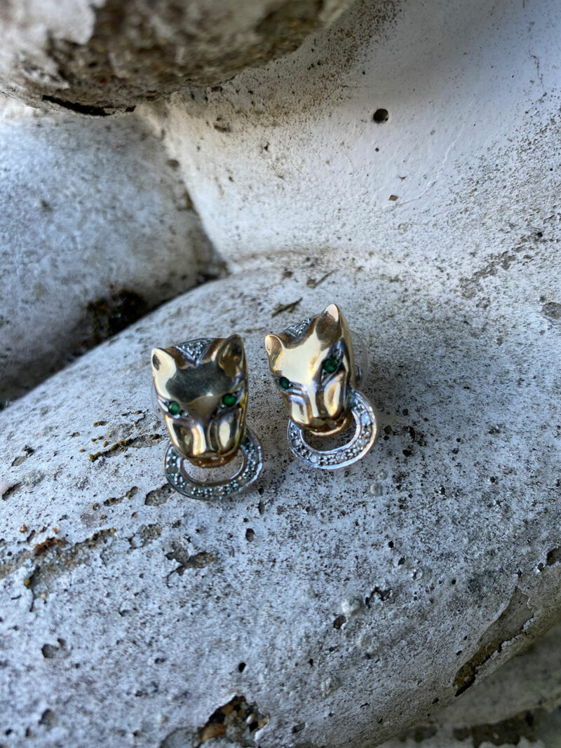 9ct Gold, Diamond & Emerald Panther Earrings