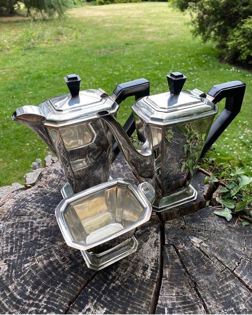 Art Deco Silver Plate Tea, Coffee Pot & Sugar Bowl