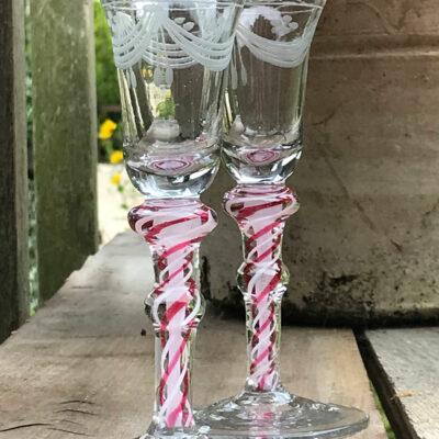 Pair of Air Twist Engraved Cordial Glasses