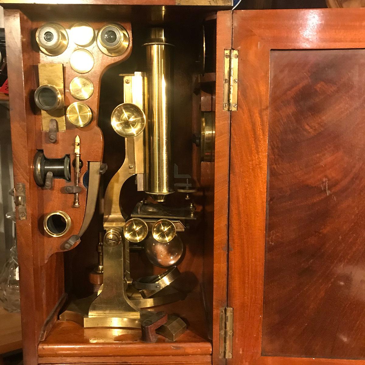 Mahogany Boxed Microscope