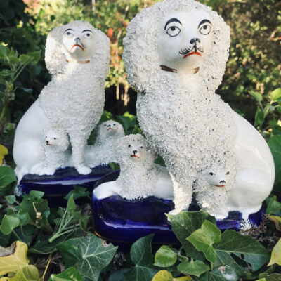 Pair of Early Victorian Staffordshire Poodles with Puppies