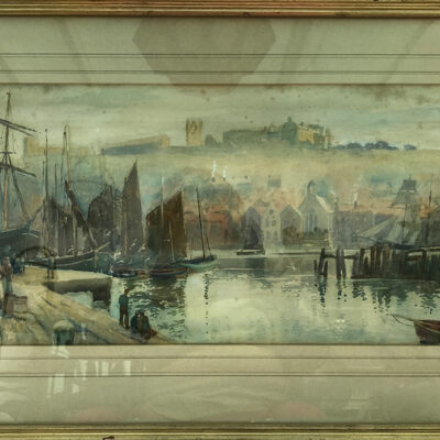 Original Watercolour of Fishing Boats in Whitby Harbour by William Matheson 1853-1926