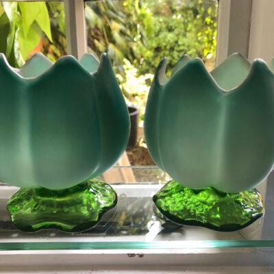 Pair of Victorian Queen's Burmese Tulip Shaped Vases