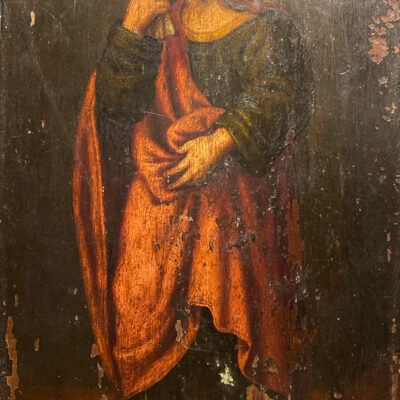 Continental Hand Painted Icon on Wooden Panel