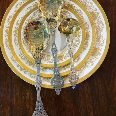 Trio of Aesthetic Movement Silver Plate Servers with Gilt Bowls